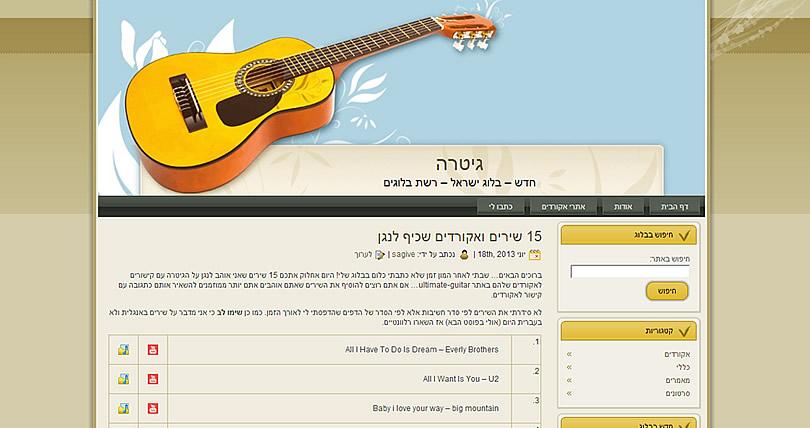 תבנית וורדפרס להורדה בחינם Guitar